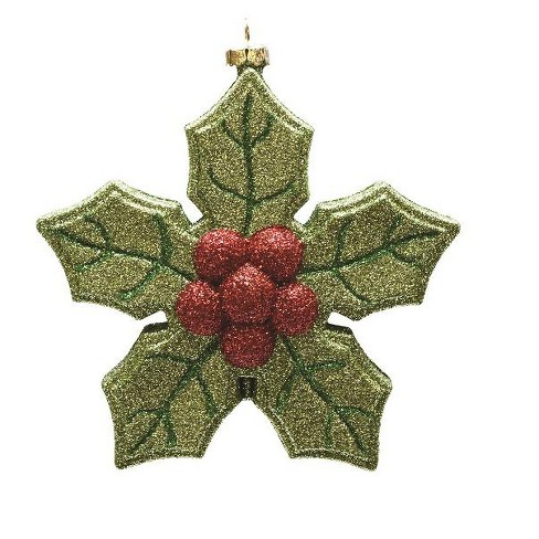 "Northlight 5.25"" Green and Red Glitter Shatterproof Poinsettia Christmas Ornament - image 1 of 1"