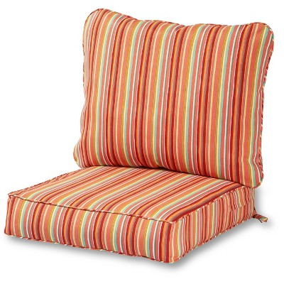 2pc Coastal Stripe Outdoor Deep Seat Cushion Set - Kensington Garden