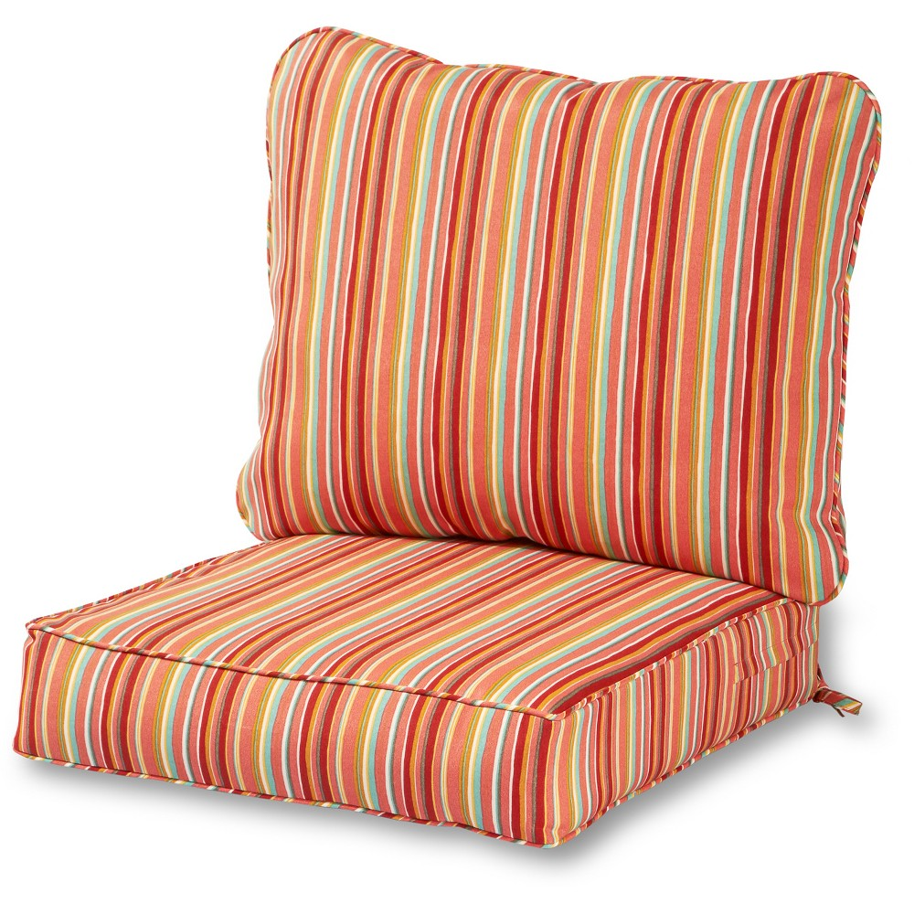 Image of 2pc Outdoor Deep Seat Cushion Set - Watermelon Stripe - Greendale Home Fashions