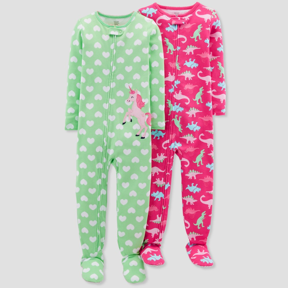 Baby Girls' Unicorn Footed Sleeper Pajama Set - Just One You made by carter's Bluff Green 12M
