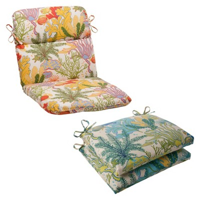 Outdoor 2 Piece Wicker Seat Cushion Set Green Blue Ocean