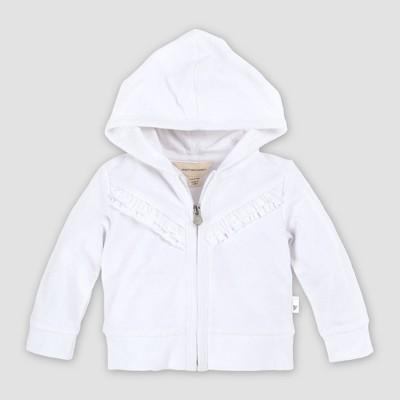 Burt's Bees Baby® Baby Girls' Organic Cotton Ruffle Front Zip Hoodie - White 12M
