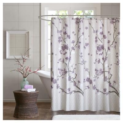 Sakura Cotton Printed Shower Curtain - Purple