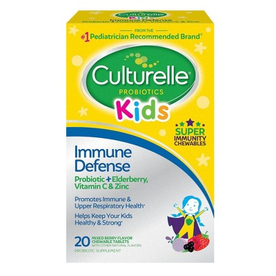 Culturelle Kids Daily Immune Defense Probiotic + Elderberry, Vitamin C and Zinc Chewable for Oral Health - 20ct