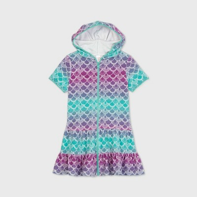 Girls' Mermaid Scale Hooded Cover Up - Cat & Jack™ Navy