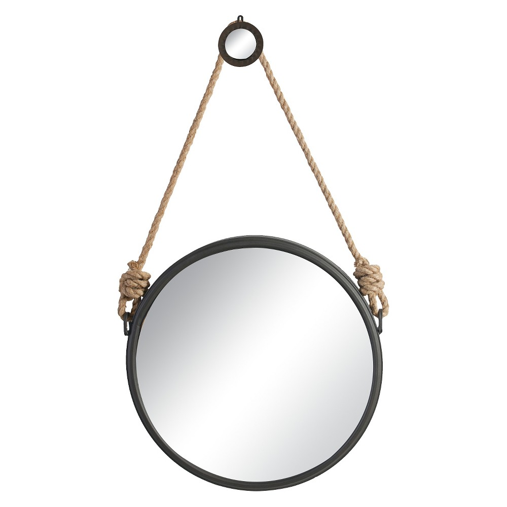 Round Decorative Wall Mirror with Rope Hanger - A&b Home, Natural