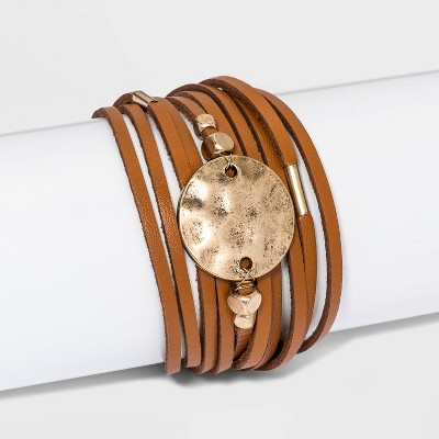 Simulated Leather and Disc Magnetic Wrap Multi-Strand Bracelet - Universal Thread™ Brown