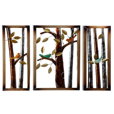 (Set of 3) 3D Metal Colorful Bird and Tree Wall Decor Panels - Olivia & May