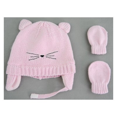 Baby Girls' Cat Hat and Mitten Set - Cat & Jack™ Pink 0-6M