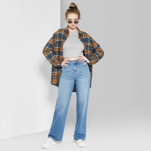 Women's High-Rise Wide Leg Baggy Jeans - Wild Fable™ Blue - image 1 of 4