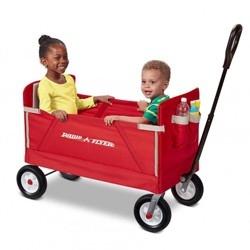 Radio Flyer All Terrain 3-in-1 Off Road EZ Fold Wagon for Kids and Cargo, Red