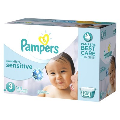 Pampers Swaddlers Sensitive Diapers Economy Plus Pack Size 3 (144 Count)