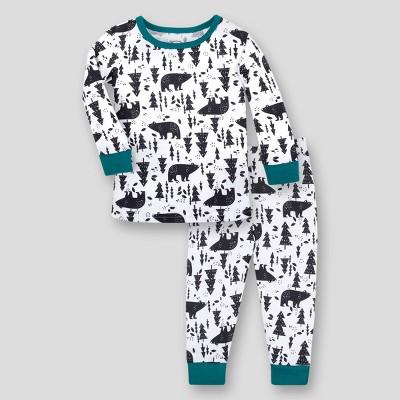 Lamaze Baby Boys' 2pk Woodland Printed Organic Cotton Thermal Underwear Set - Black 9M
