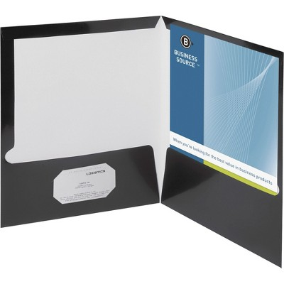 Business Source Two Pocket Folder Ltr 2-Pkts 100 Shts 25/BX BK 44425
