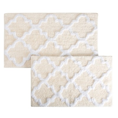 Trellis Bath Mat Set 2pc Bone - Yorkshire Home