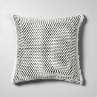 Textured Pillow Gray / White with Fringe - Hearth & Hand™ with Magnolia