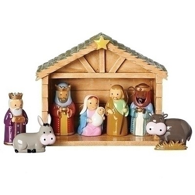 """Roman Set of 8 Brown Children's First Christmas Religious Traditional Table Top Nativity Set 6.75"""""""