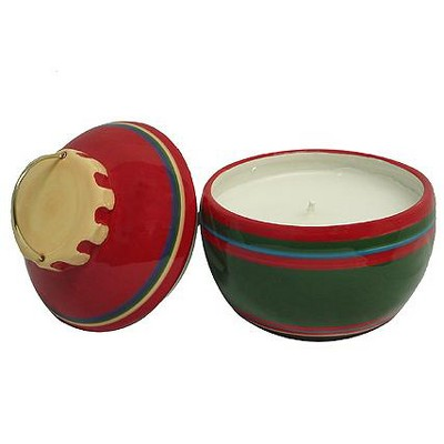 """Roman Set of 2 Red and Green Jar Candles Christmas Ornament 5.25"""""""