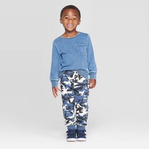 Toddler Boys' 2pc Sweatshirt and Camo Jogger Pants Set - art class™ Blue - image 1 of 3