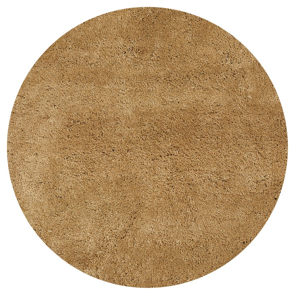 Gold Solid Woven Round Area Rug 8' - Kas Rugs
