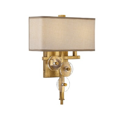 """16"""" Engeared 2 Light Wall Sconce Antiqued Gold Leaf/Gold Fabric - Varaluz"""