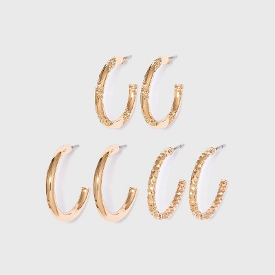 Textured Multi Hoop Earring Set 3pc - Wild Fable™ Gold