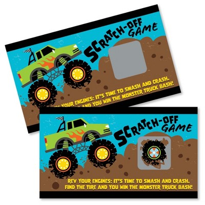 Big Dot of Happiness Smash and Crash - Monster Truck - Boy Birthday Party Game Scratch Off Cards - 22 Count