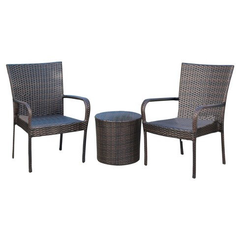 Littleton 3pc All Weather Wicker Patio Stacking Chair Chat Set Brown Christopher Knight Home Target