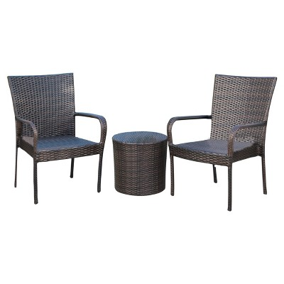 Littleton 3pc All Weather Wicker Patio Stacking Chair Chat Set   Brown    Christopher Knight Home