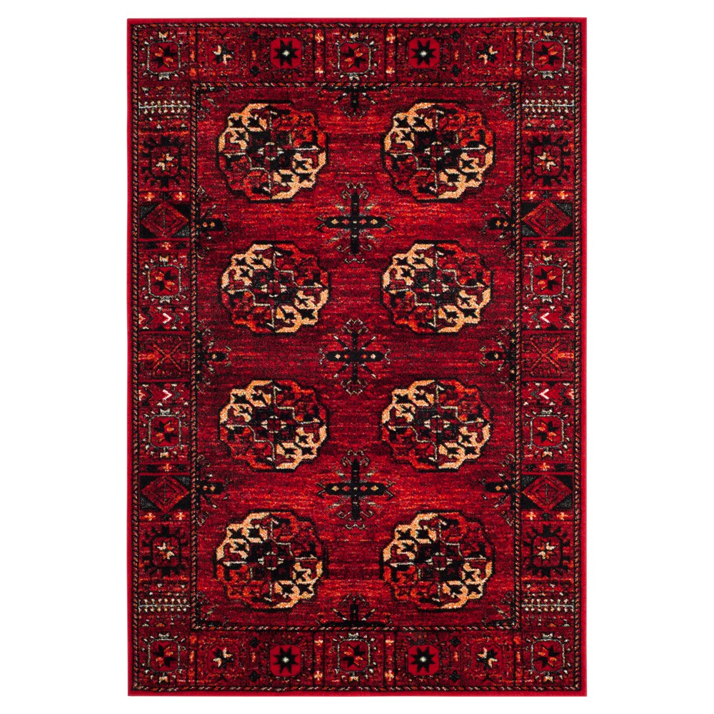 Red Abstract Loomed Area Rug - (5'3