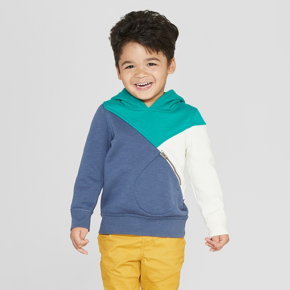 Genuine Kids from OshKosh Toddler Boys' Colorblock Hoodie With Zip Pocket - Navy 5T, Blue