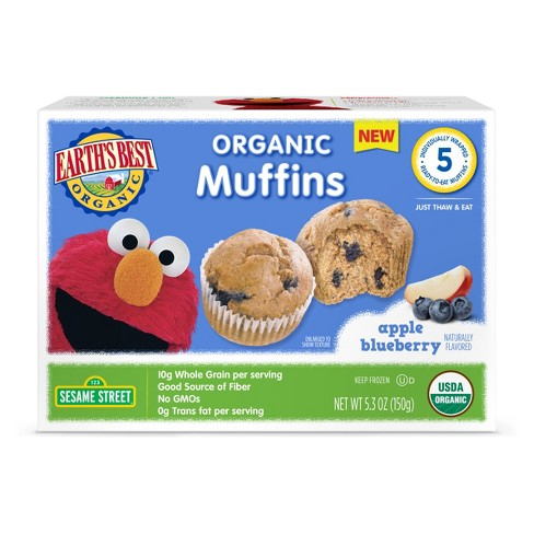 Earth's Best Organic Elmo Wholesome Apple Blueberry Frozen Muffins - 5.3oz - image 1 of 1