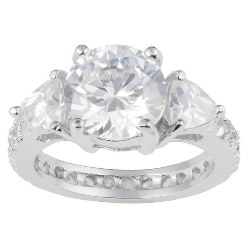 6 1/10 CT. T.W. Round-cut CZ Basket Set Three-stone Engagement Ring in Sterling Silver - image 1 of 2