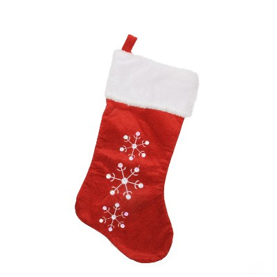 """Northlight 19"""" Red and White Snowflake Embroidered Christmas Stocking"""