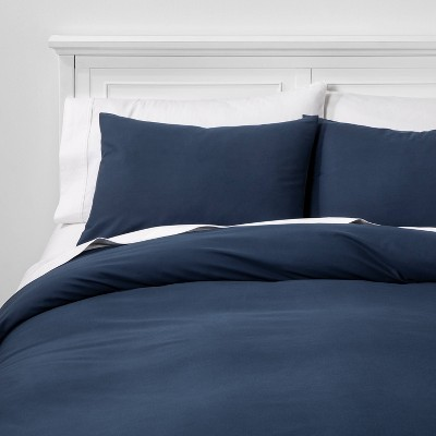 Full/Queen Organic Solid Duvet & Sham Set Metallic Blue - Threshold™