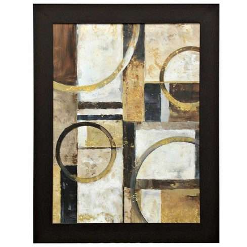 "47.2"" Contemporary Geometric Gel Coated Framed Wall Art Black - StyleCraft - image 1 of 1"