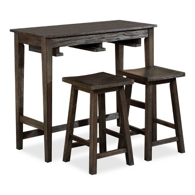 3pc Helbrana Bar Height Dining Set Gray - HOMES: Inside + Out