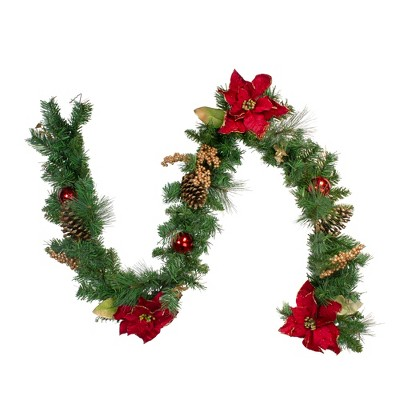 "Northlight 6' x 10"" Unlit Green Pine, Poinsettias and Gold Berry Artificial Christmas Garland"