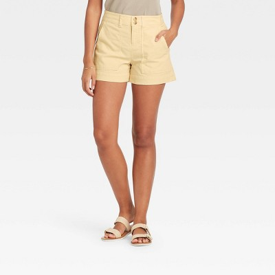 Women's High-Rise Utility Pocket Shorts - A New Day™ Light Yellow