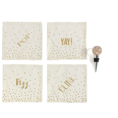 """""""Pop Fizz Clink Yay"""" Set of Four Cocktail Napkins And Bottle Stopper Gift Set - Off-White - Shiraleah"""