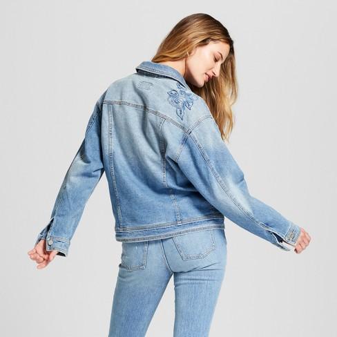 d7a10b4ca2e Women's Embroidered Denim Trucker Jacket - Universal Thread™ Light Wash