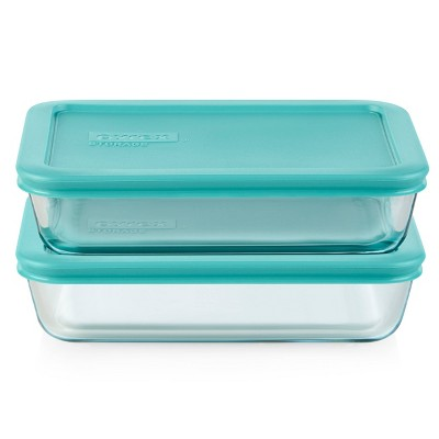 Pyrex 3 Cup 2pk Rectangular Food Storage Container Set - Green