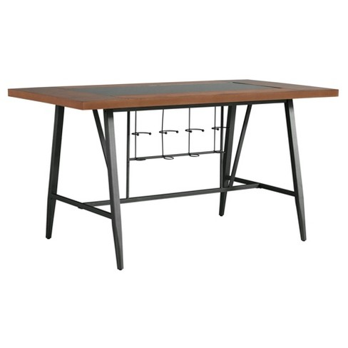 Saroyan Glass Top Counter Height Wood & Metal Table - Graphite - Inspire Q - image 1 of 4