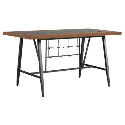 Saroyan Glass Top Counter Height Wood U0026 Metal Table   Graphite   Inspire Q
