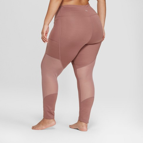 52d99eb51e5ae Women's Plus Size Comfort 7/8 Mesh Panel High-Waisted Leggings - JoyLab™  Faded Rose Pink 3X : Target
