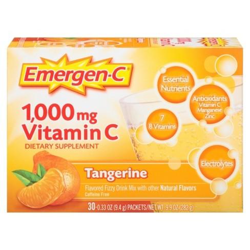 Emergen-C Vitamin C Dietary Supplement Drink Mix - Tangerine - 30ct - image 1 of 5