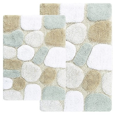 Pebbles 2 - Pc. Bath Rug Set Neutral Rain - Chesapeake Merch Inc.®