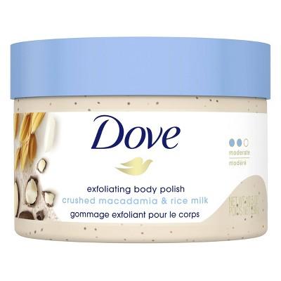 Dove Crushed Macadamia & Rice Milk Exfoliating Body Polish Scrub - 10.5oz