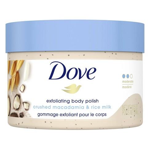 Dove Crushed Macadamia & Rice Milk Exfoliating Body Polish Scrub - 10.5oz - image 1 of 4