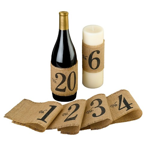 Burlap Table Number Wraps (Numbers 1-20) - image 1 of 1